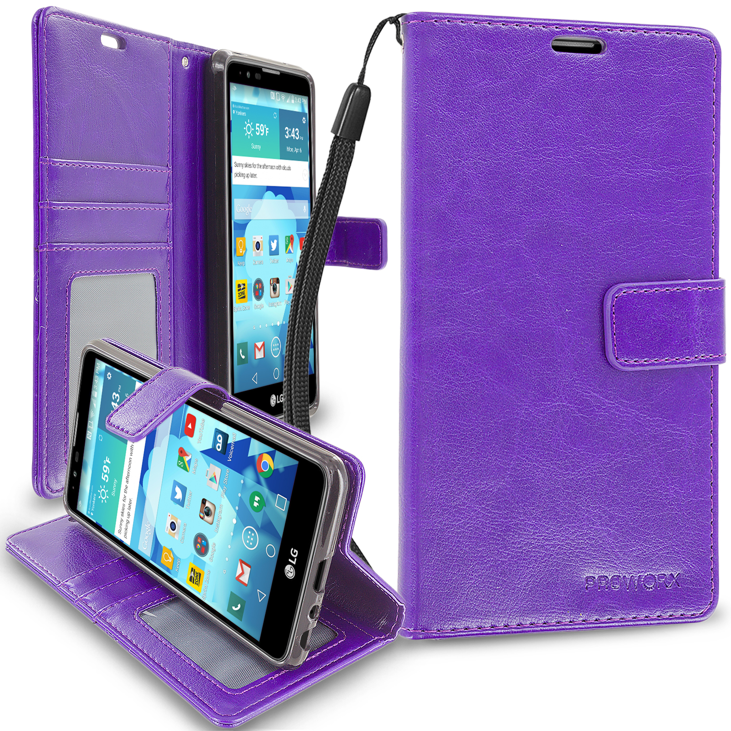 LG G Stylo 2 LS775 Purple ProWorx Wallet Case Luxury PU Leather Case Cover With Card Slots & Stand