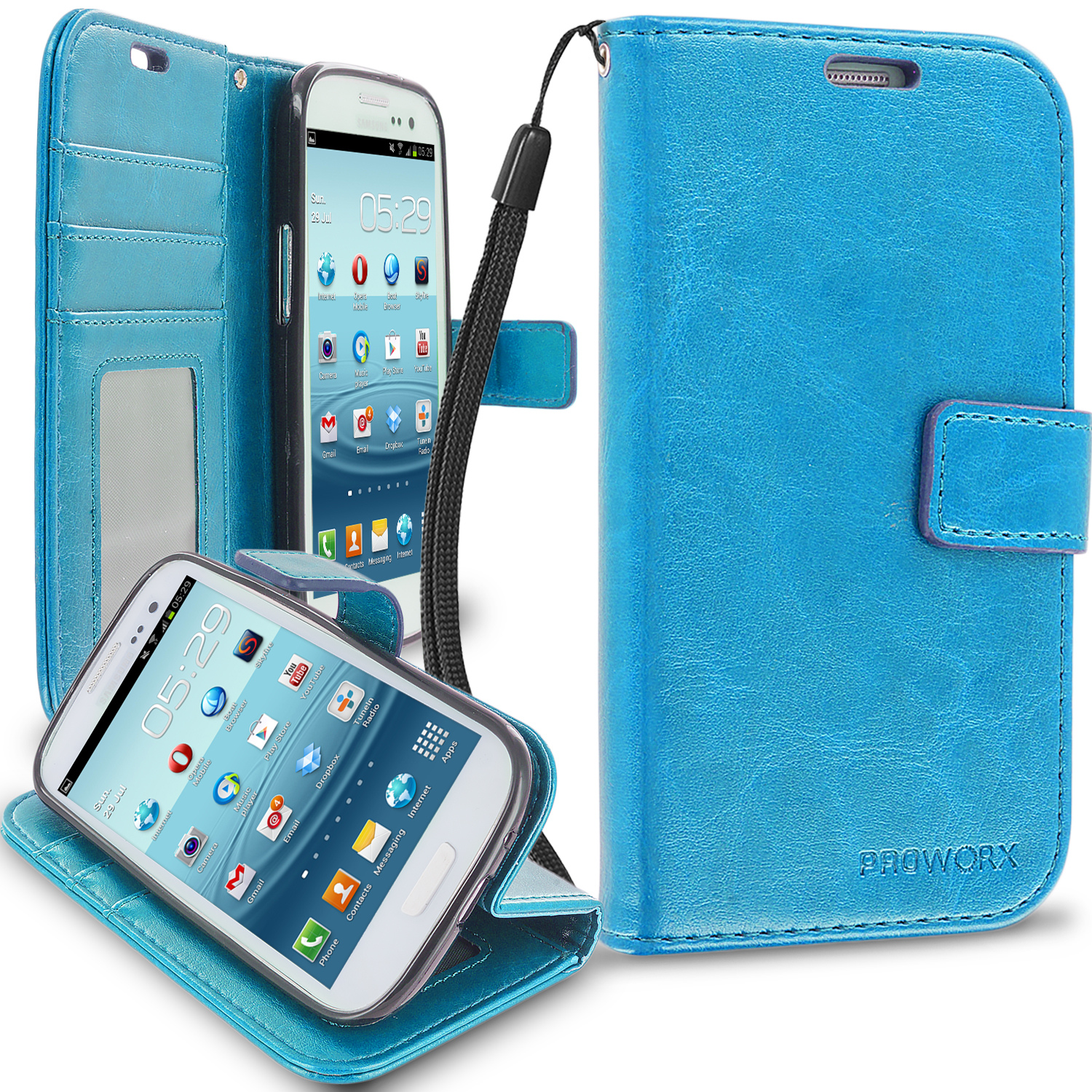 Samsung Galaxy S3 Baby Blue ProWorx Wallet Case Luxury PU Leather Case Cover With Card Slots & Stand