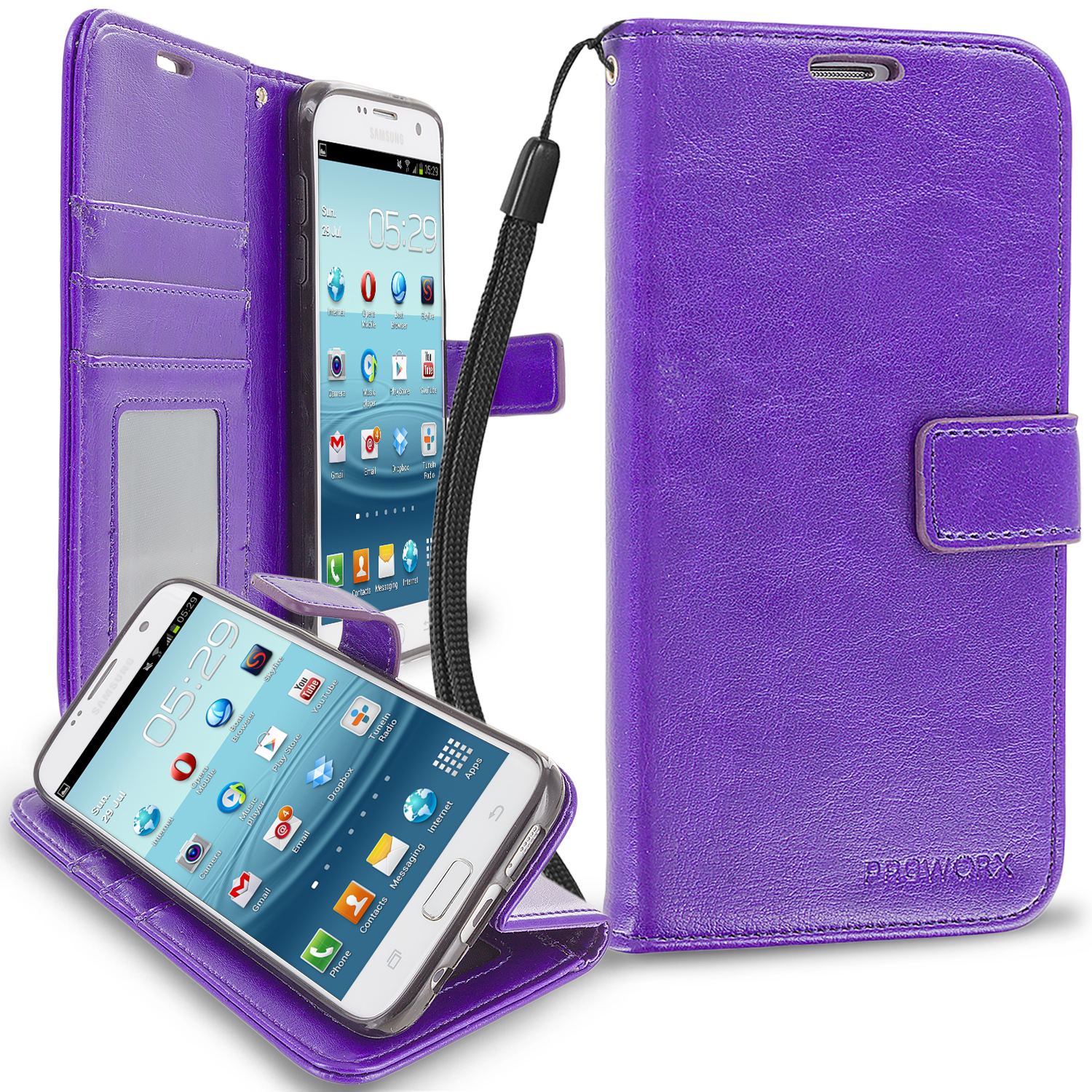 Samsung Galaxy S7 Edge Purple ProWorx Wallet Case Luxury PU Leather Case Cover With Card Slots & Stand
