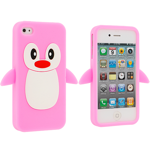 Apple iPhone 4 / 4S Pink Penguin Silicone Design Soft Skin Case Cover