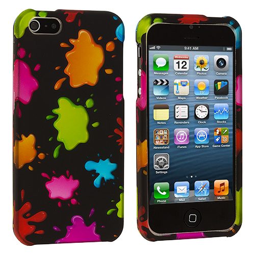 Apple iPhone 5 Colorful Splash Hard Rubberized Design Case Cover