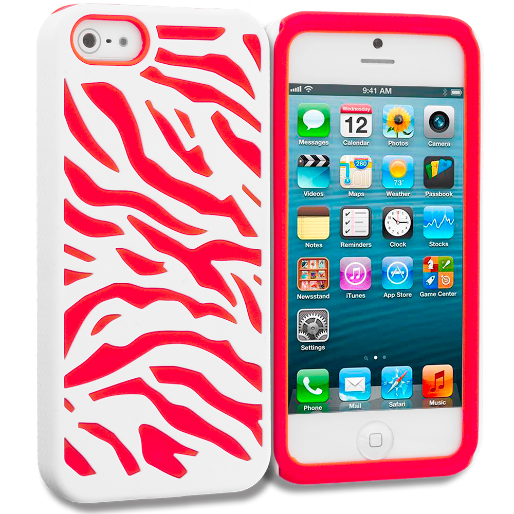 Apple iPhone 5/5S/SE Combo Pack : Black / White Hybrid Zebra Hard/Soft Case Cover : Color Red / White