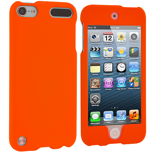 Apple iPod Touch 5th 6th Generation 2 in 1 Combo Bundle Pack - Orange (Covered) Purple Hard Rubberized Case Cover : Color Orange (Covered)