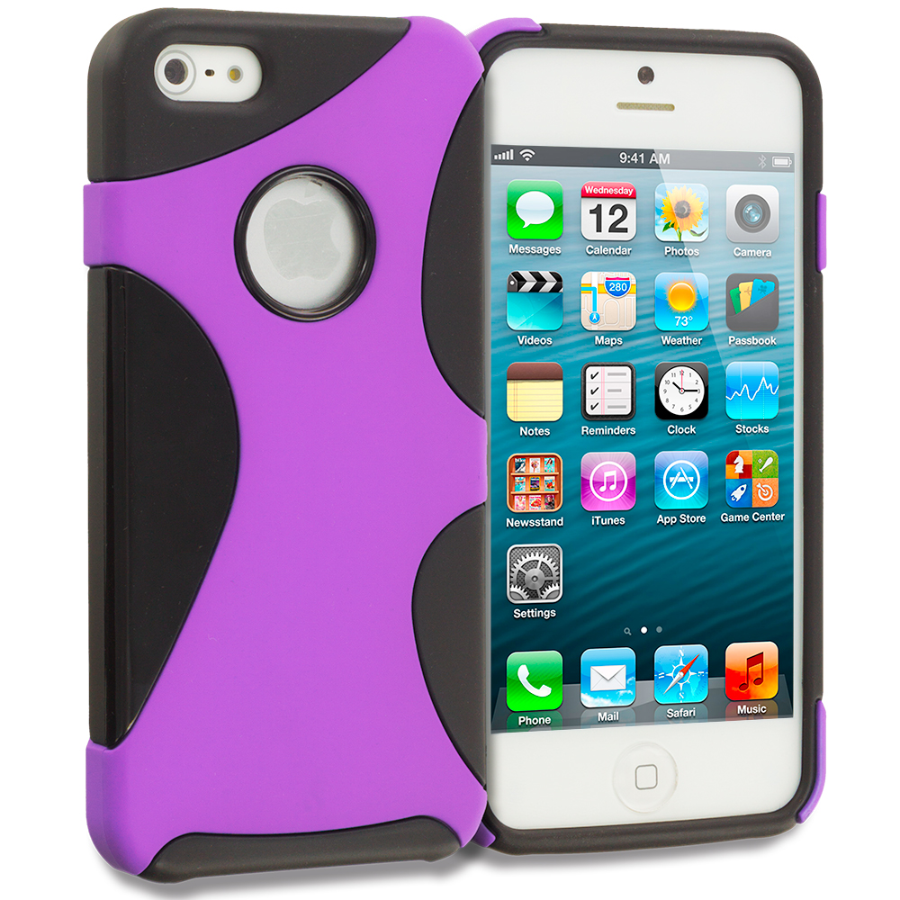 Apple iPhone 5/5S/SE Black / Purple Five Point Hybrid Hard/Soft Case Cover