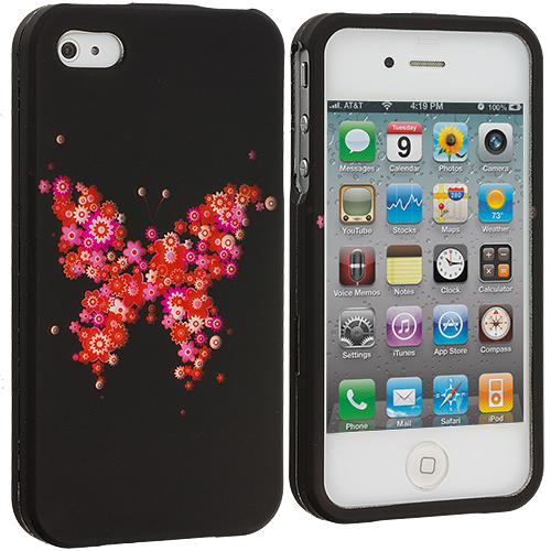 Apple iPhone 4 / 4S Pink Flower Butterfly Hard Rubberized Design Case Cover