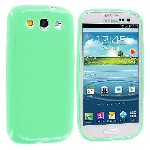 Samsung Galaxy S3 Mint Green Solid TPU Rubber Skin Case Cover