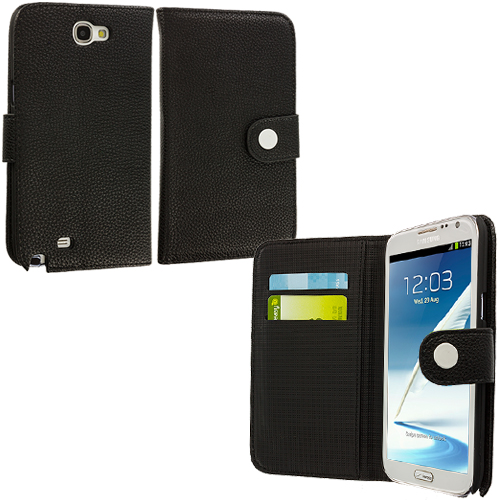 Samsung Galaxy Note 2 II N7100 Black Texture Leather Wallet Pouch Case Cover with Slots
