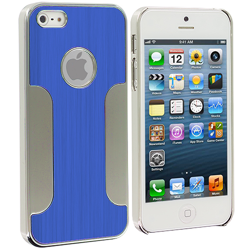 Apple iPhone 5/5S/SE Combo Pack : Blue Brushed Metal Aluminum Metal Hard Case Cover : Color Blue Brushed Metal