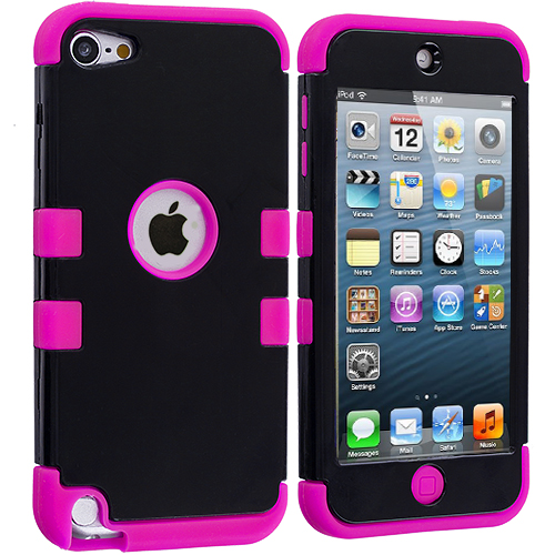 Apple iPod Touch 5th 6th Generation Hot Pink / Black Hybrid Tuff Hard/Soft 3-Piece Case Cover
