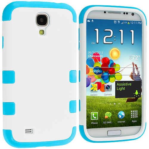 Samsung Galaxy S4 Baby Blue / White Hybrid Tuff Hard/Soft 3-Piece Case Cover