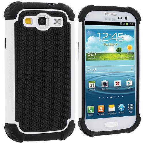 Samsung Galaxy S3 White Hybrid Rugged Hard/Soft Case Cover