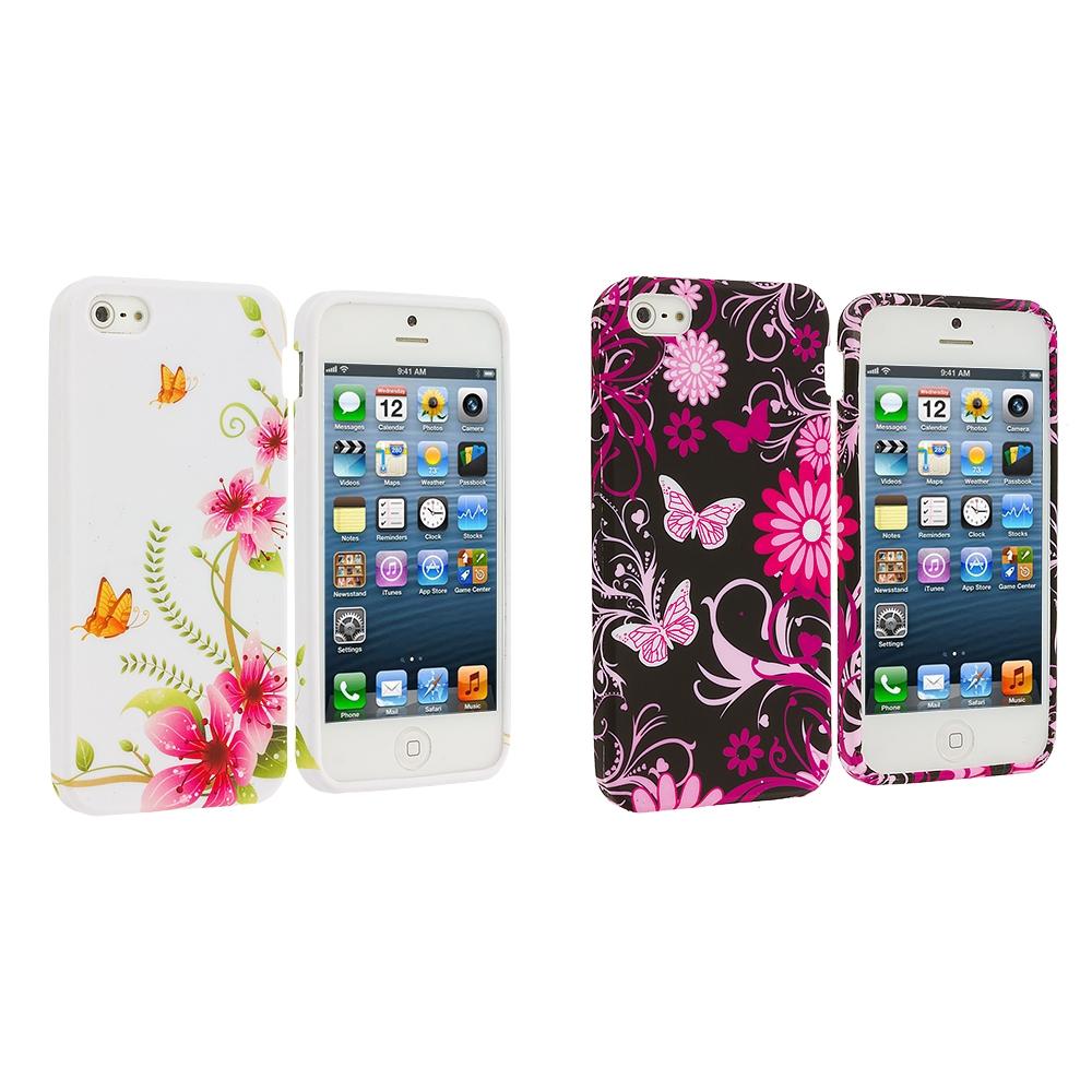 Apple iPhone 5/5S/SE Combo Pack : Corner Pink Flower TPU Design Soft Case Cover