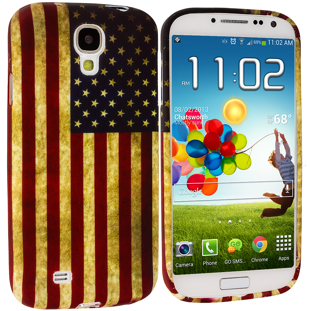Samsung Galaxy S4 USA Flag TPU Design Soft Case Cover