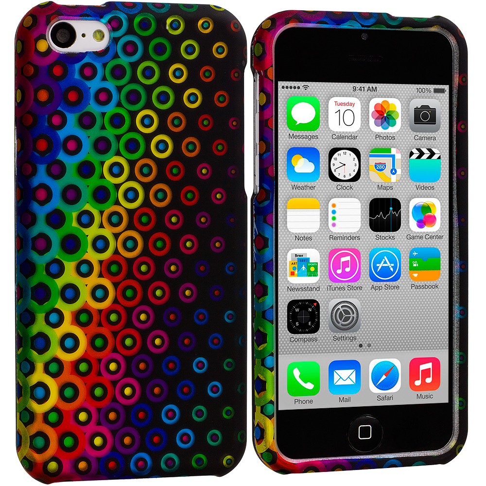 Apple iPhone 5C Rainbow Dots Hard Rubberized Design Case Cover