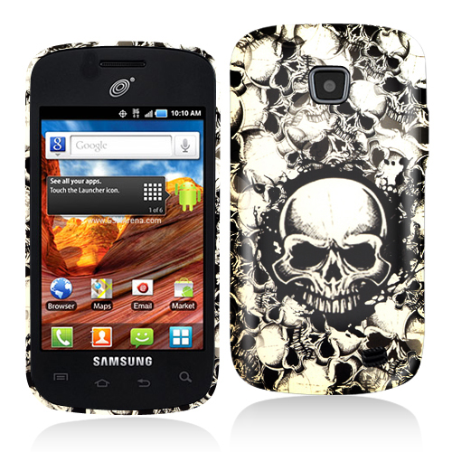 Samsung Proclaim S720C Black White Skulls Hard Rubberized Design Case Cover