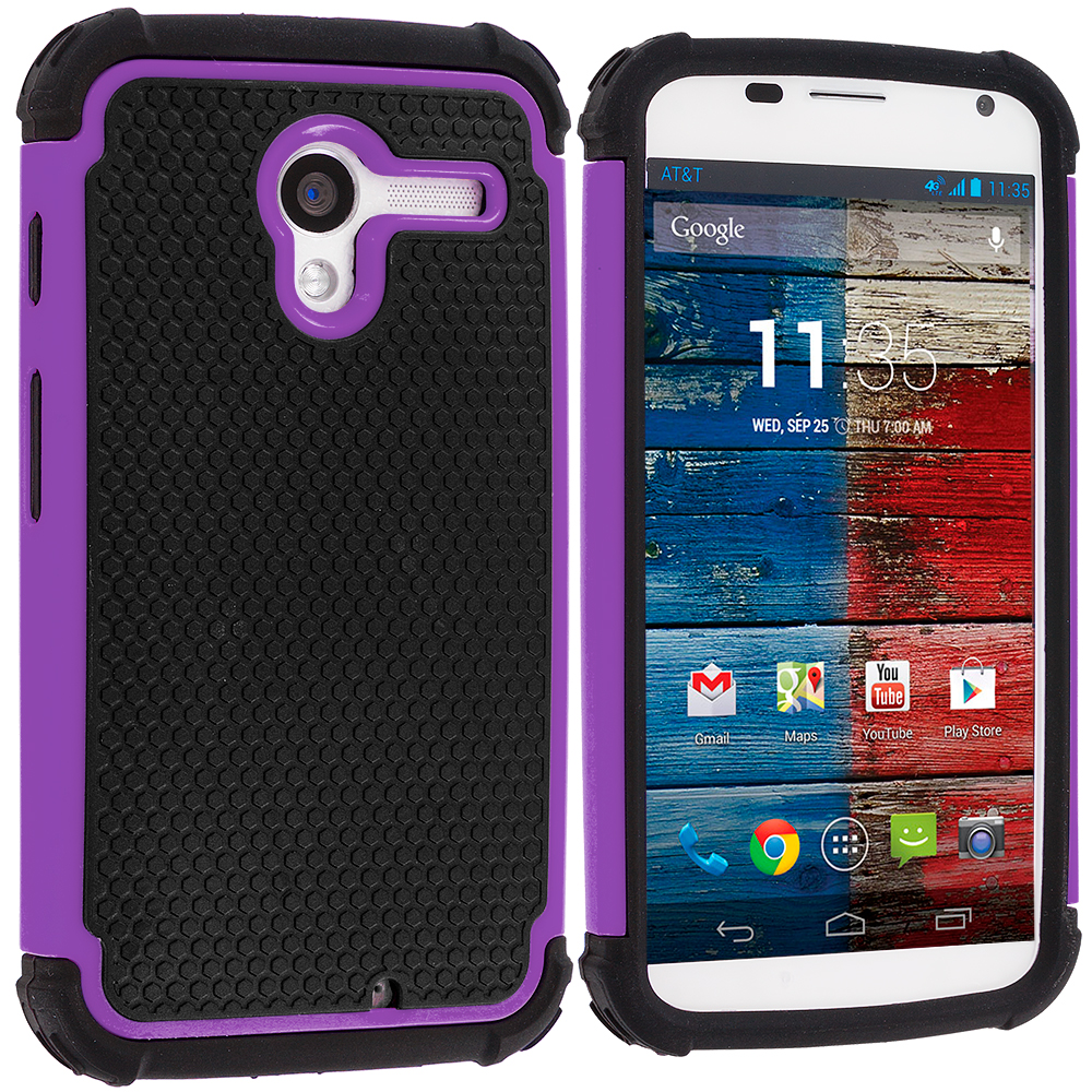 Motorola Moto X Black / Purple Hybrid Rugged Hard/Soft Case Cover