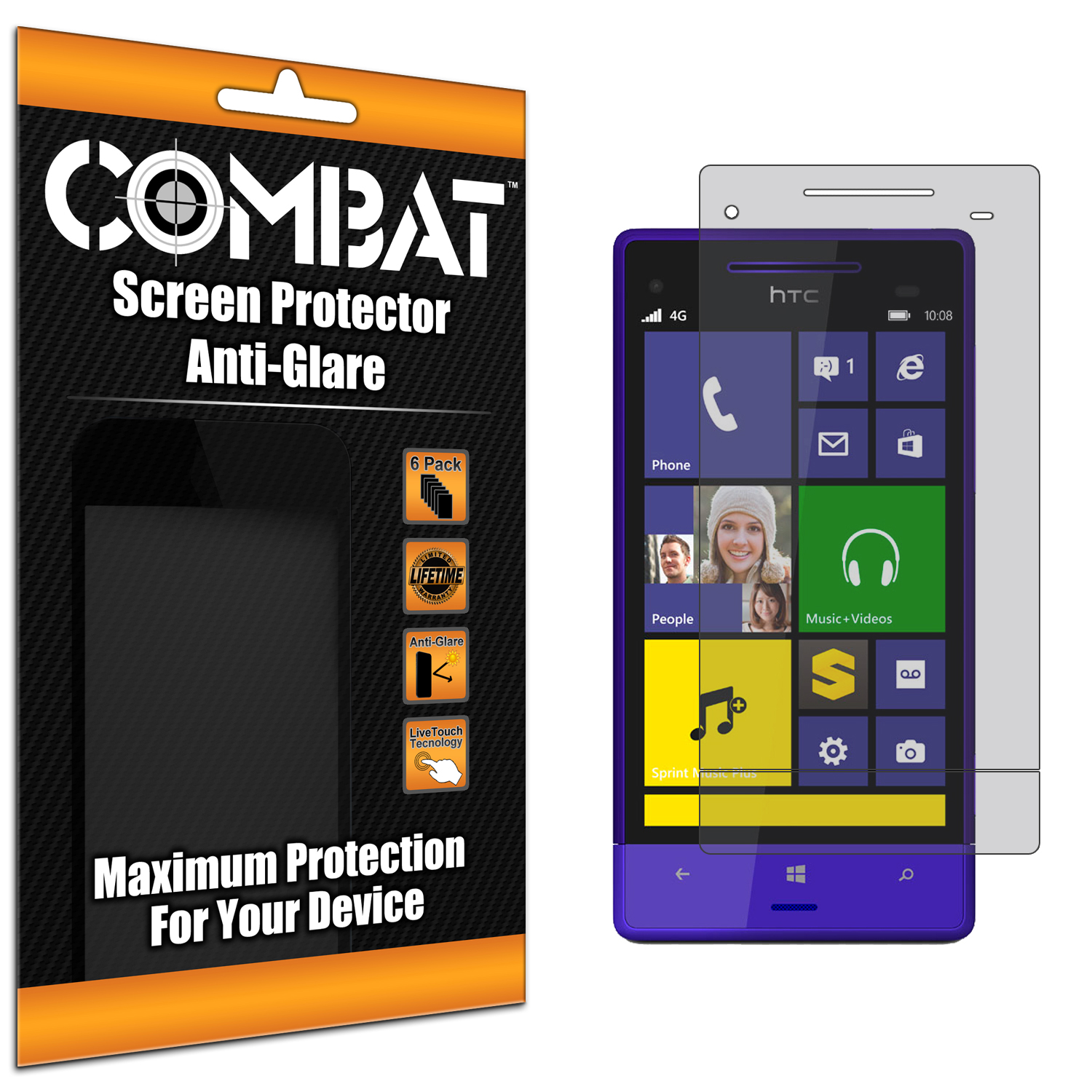 HTC 8XT Combat 6 Pack Anti-Glare Matte Screen Protector