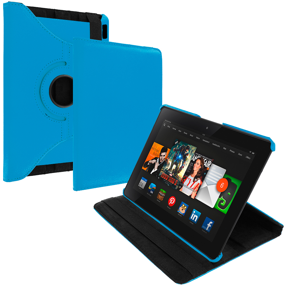 Amazon Kindle Fire HDX 8.9 Sky Blue 360 Rotating Leather Pouch Case Cover Stand