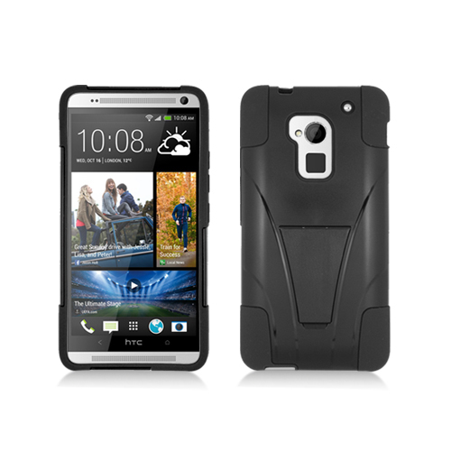 HTC One Max Black / Black Hybrid Hard/Silicone Case Cover with Stand