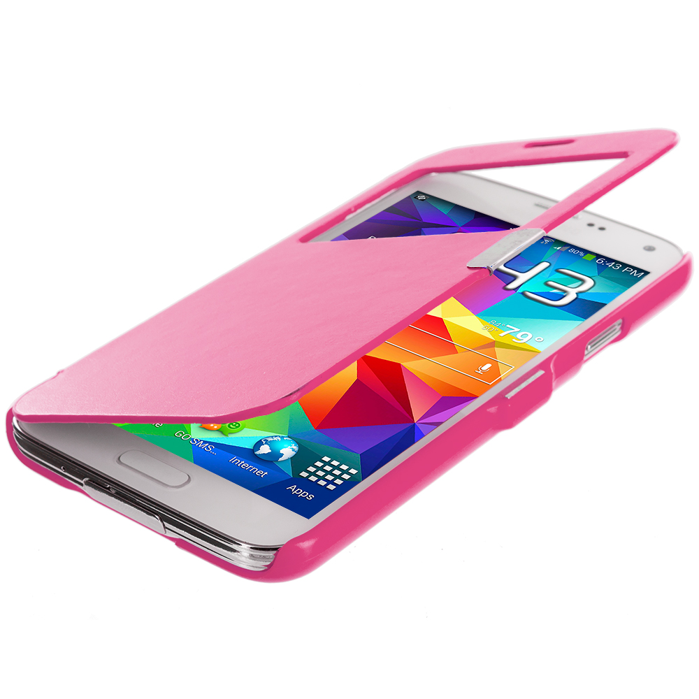 Samsung Galaxy S5 Hot Pink (Open Front) Magnetic Wallet Case Cover Pouch
