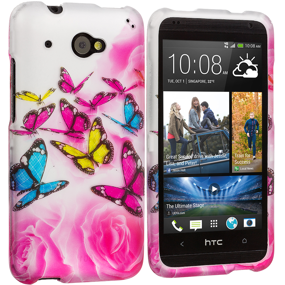 HTC Desire 601 Pink Colorful Butterfly 2D Hard Rubberized Design Case Cover