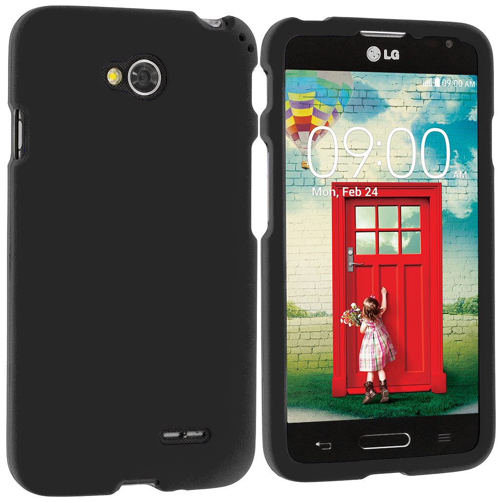 LG Optimus L70 Exceed 2 Realm LS620 Black Hard Rubberized Case Cover
