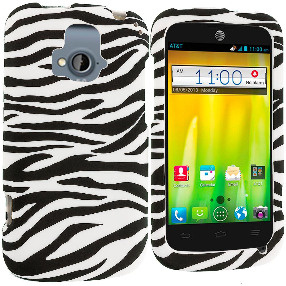 ZTE Radiant Black / White Zebra Hard Rubberized Design Case Cover