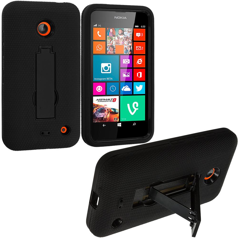 Nokia Lumia 630 635 Black / Black Hybrid Heavy Duty Hard Soft Case Cover with Kickstand