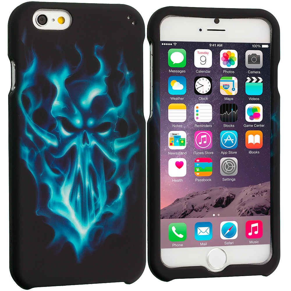 Apple iPhone 6 Plus 6S Plus (5.5) Blue Skull Face 2D Hard Rubberized Design Case Cover