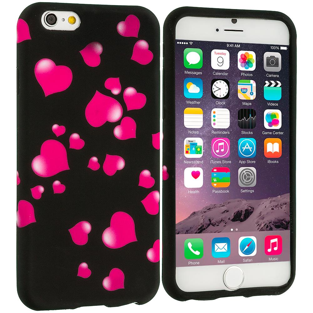 Apple iPhone 6 Plus 6S Plus (5.5) Raining Hearts TPU Design Soft Rubber Case Cover