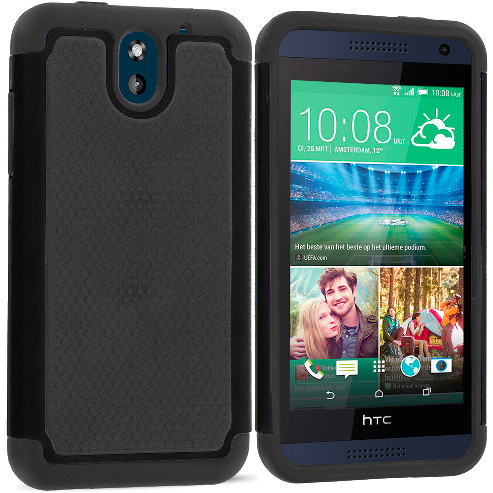 HTC Desire 610 Black / Black Hybrid Rugged Grip Shockproof Case Cover