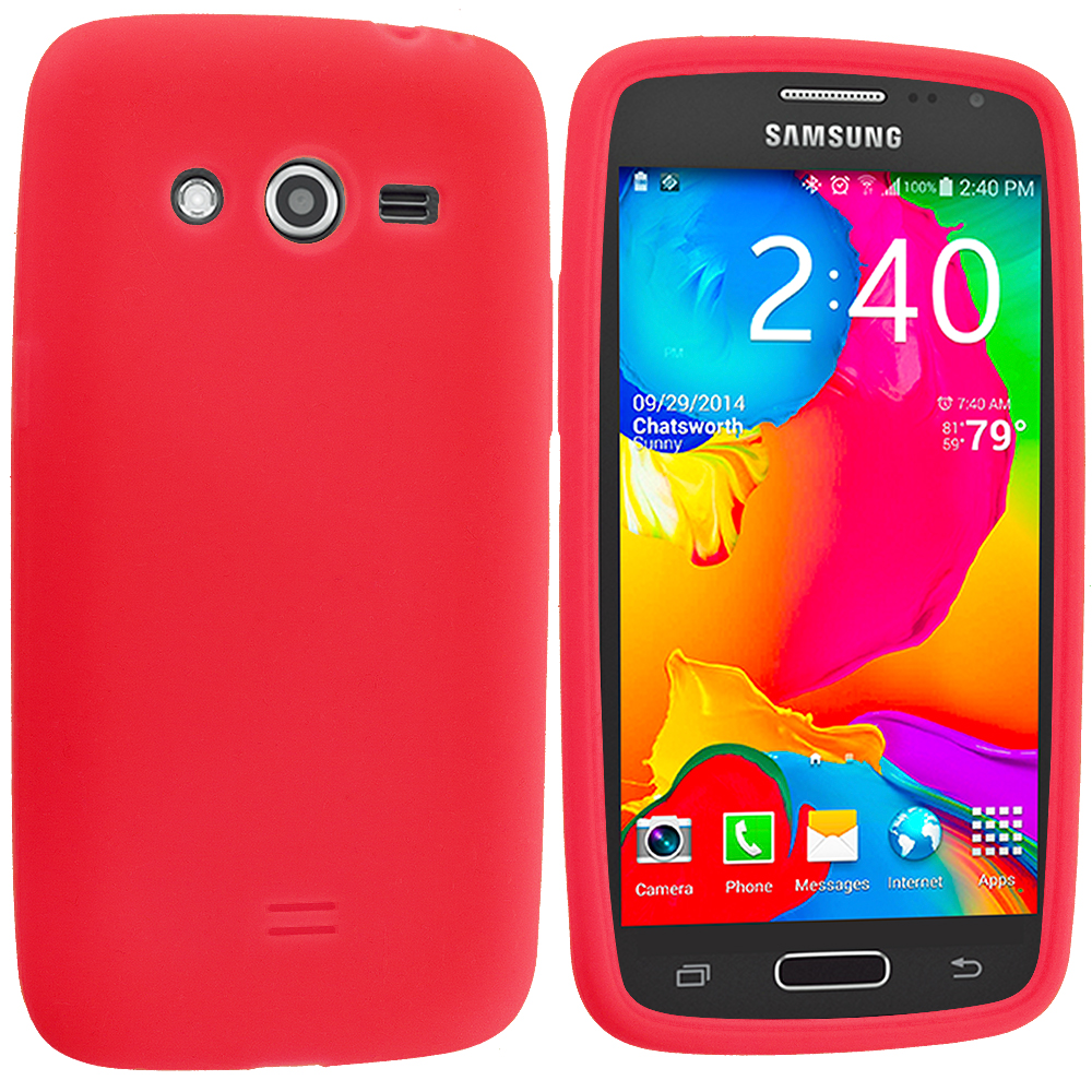 Samsung Galaxy Avant G386 Red Silicone Soft Skin Rubber Case Cover