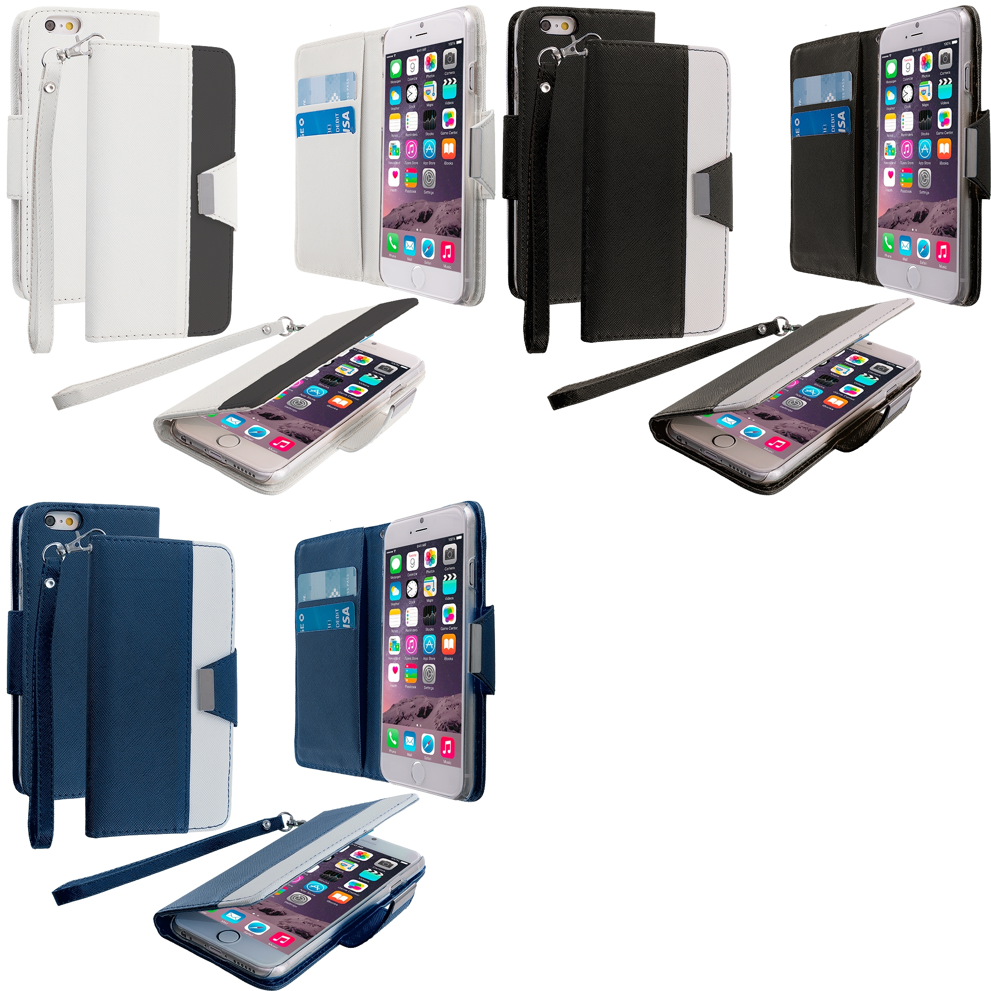 Apple iPhone 6 Plus 6S Plus (5.5) 3 in 1 Combo Bundle Pack - Wallet Magnetic Metal Flap Case Cover With Card Slots
