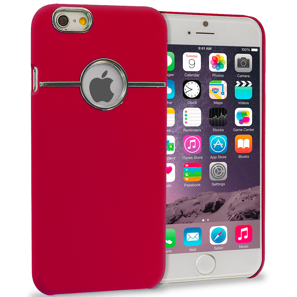 Apple iPhone 6 Plus Red Deluxe Chrome Hard Rubberized Back Cover Case