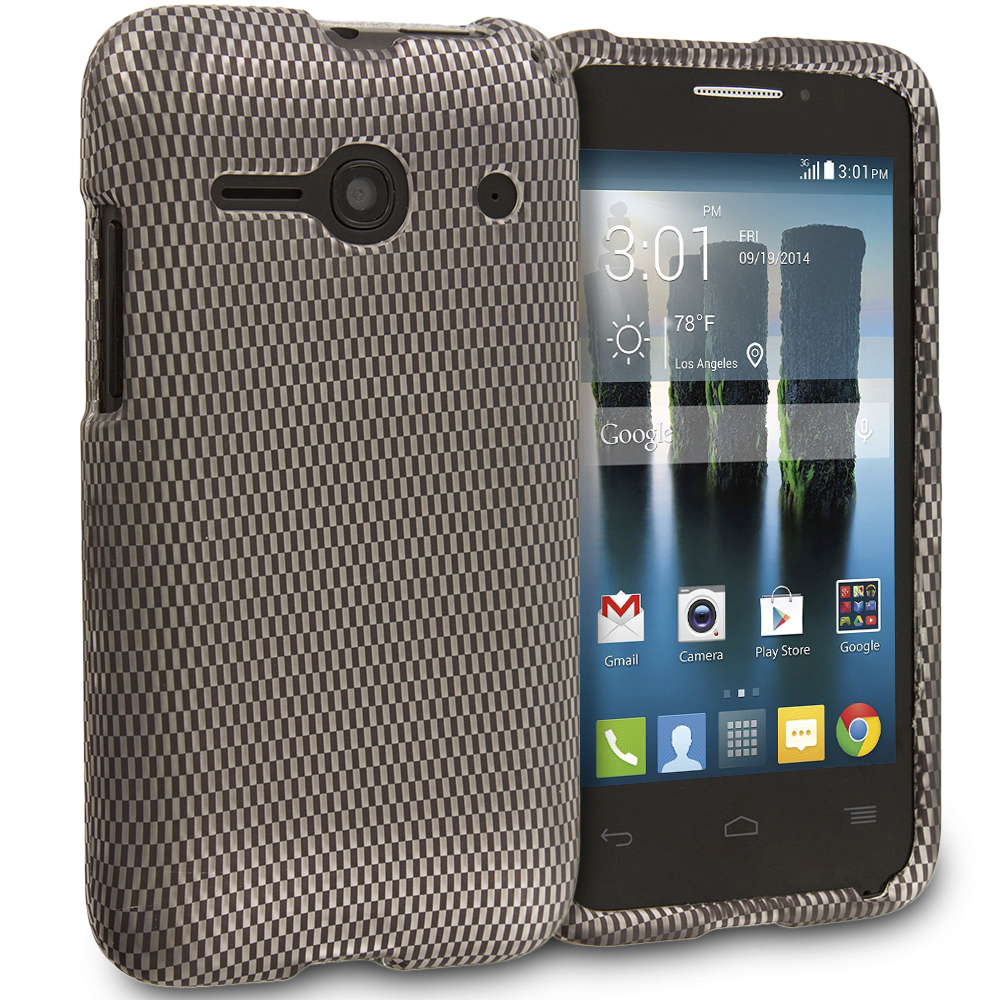 Alcatel One Touch Evolve 2 Carbon Fiber 2D Hard Rubberized Design Case Cover