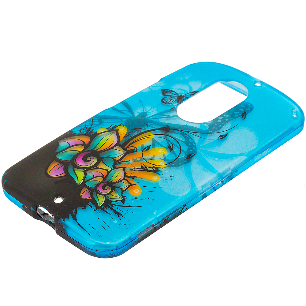 Motorola Moto X 2nd Gen Butterfly Flower on Blue 2D Hard Rubberized Design Case Cover