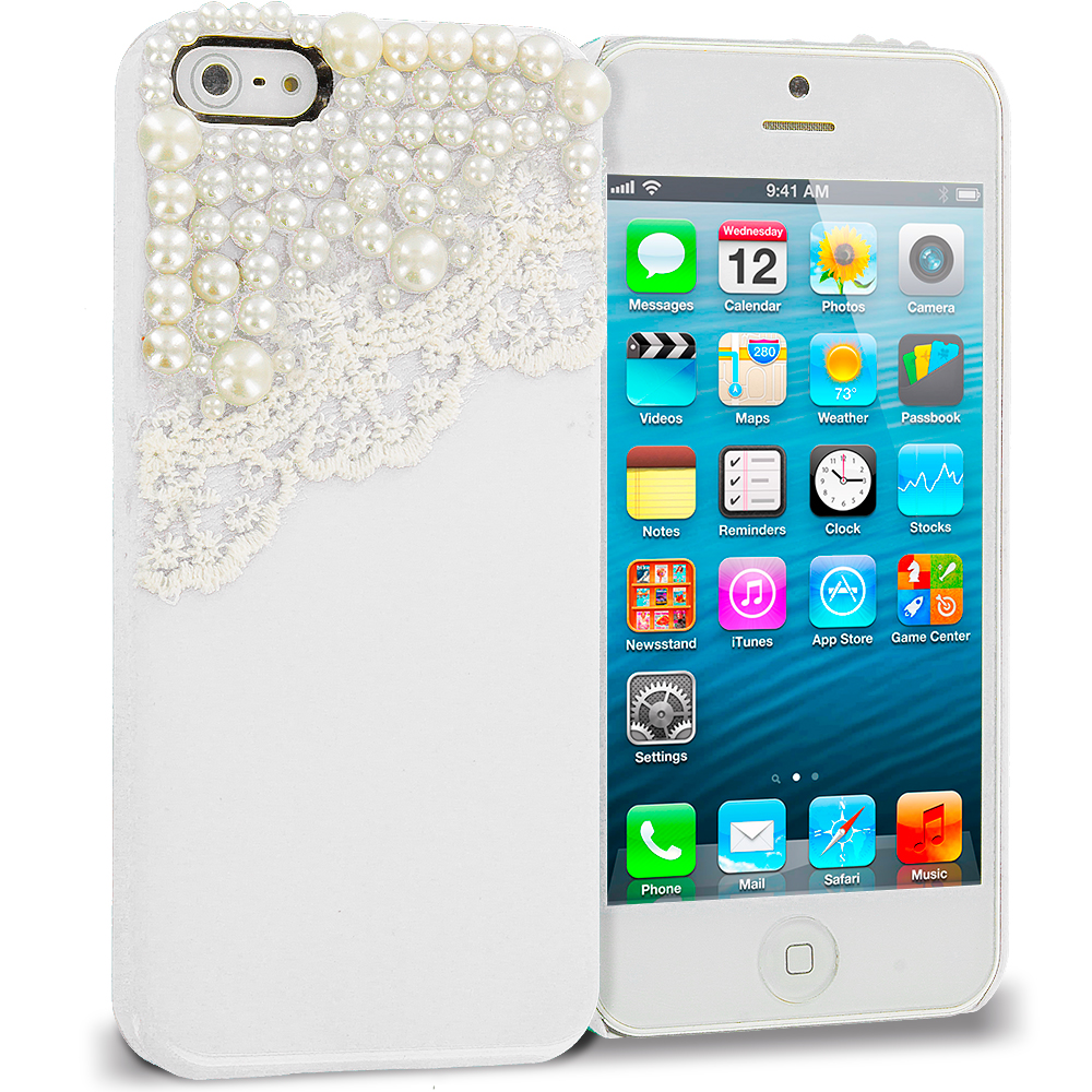 Apple iPhone 5/5S/SE Combo Pack : Golden Pearls Crystal Hard Back Cover Case : Color White Pearls