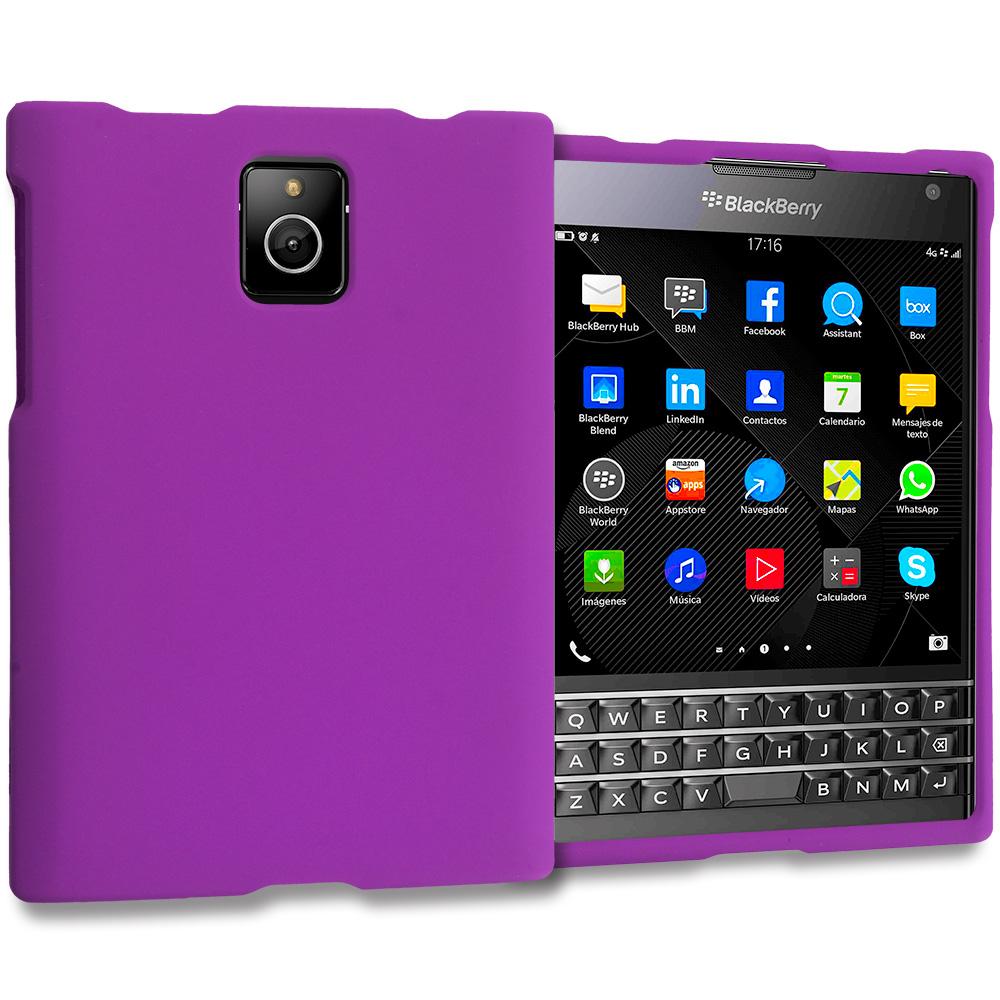 Blackberry Passport Purple Hard Rubberized Case Cover