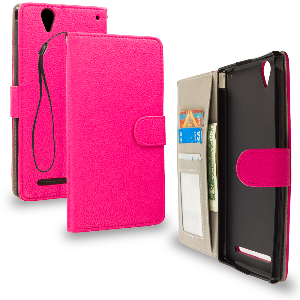 Sony Xperia T2 Ultra D5303 Hot Pink Leather Wallet Pouch Case Cover with Slots