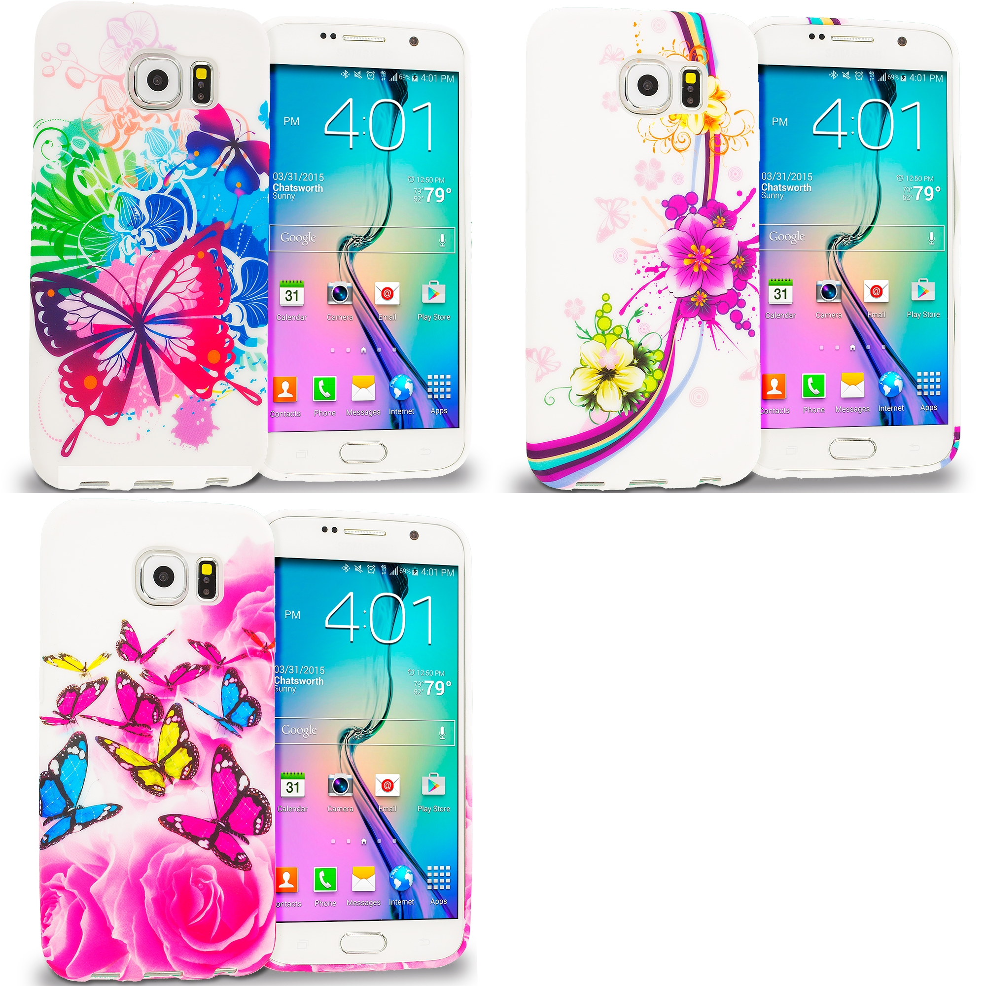 Samsung Galaxy S6 Combo Pack : Butterfly Colorful TPU Design Soft Rubber Case Cover