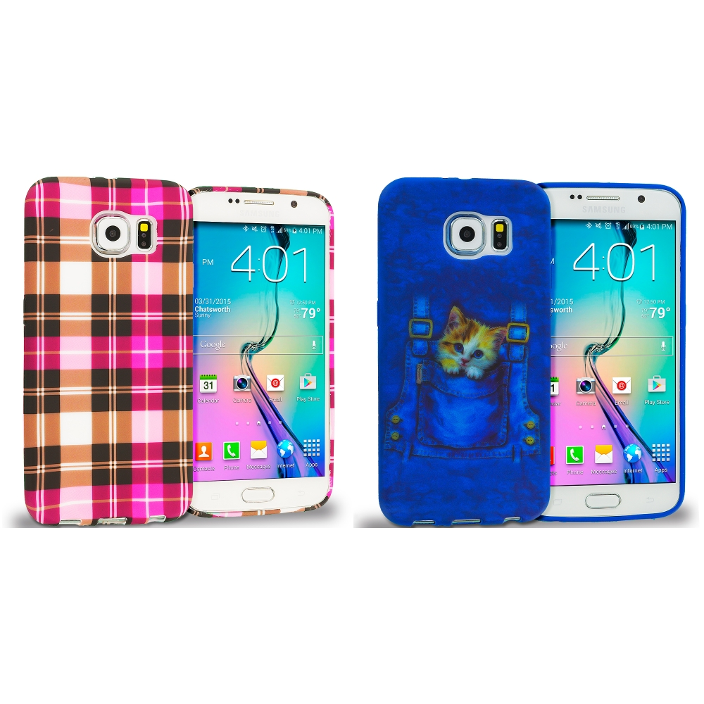 Samsung Galaxy S6 Combo Pack : Hot Pink Checkered TPU Design Soft Rubber Case Cover