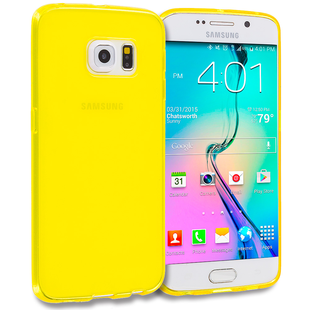 Samsung Galaxy S6 Edge Yellow Plain TPU Rubber Skin Case Cover