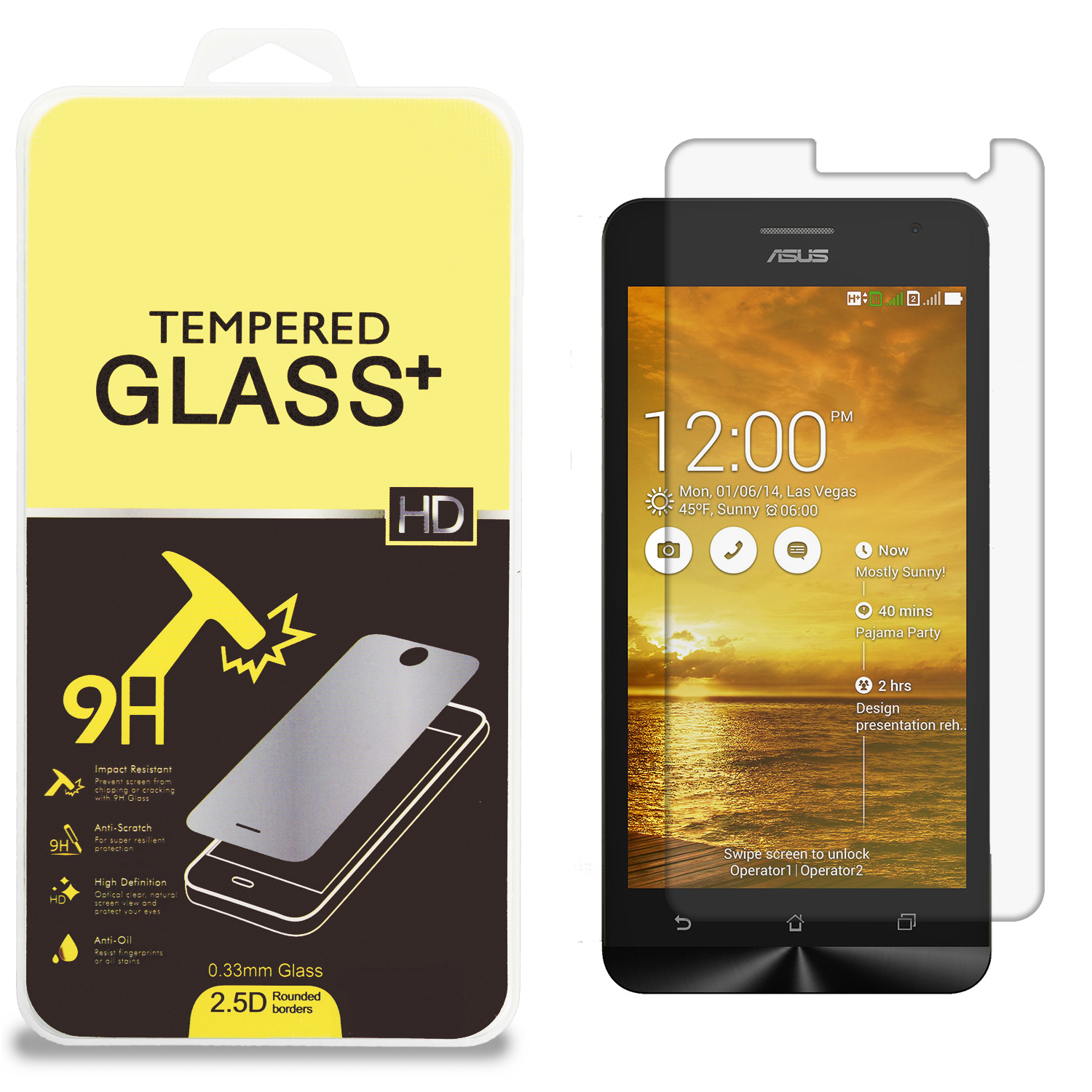 Asus Zenfone 4.5 Clear Tempered Glass High Quality 0.33mm LCD Screen Protector