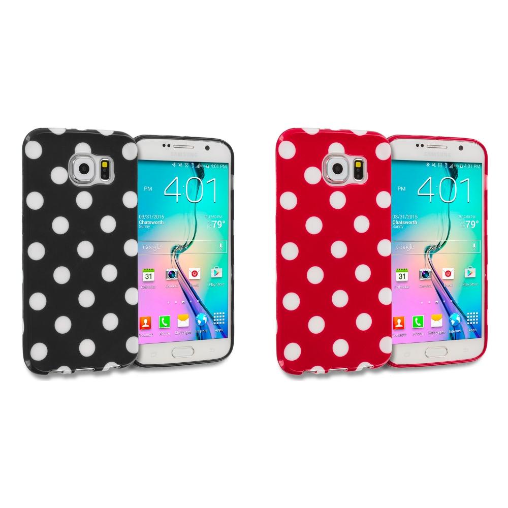 Samsung Galaxy S6 Combo Pack : Black / White TPU Polka Dot Skin Case Cover