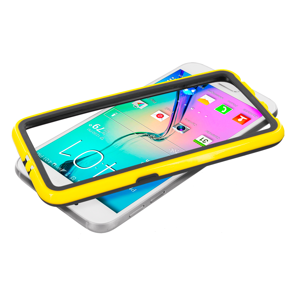 Samsung Galaxy S6 Combo Pack : Black / Yellow TPU Bumper Frame with Metal Buttons : Color Black / Yellow