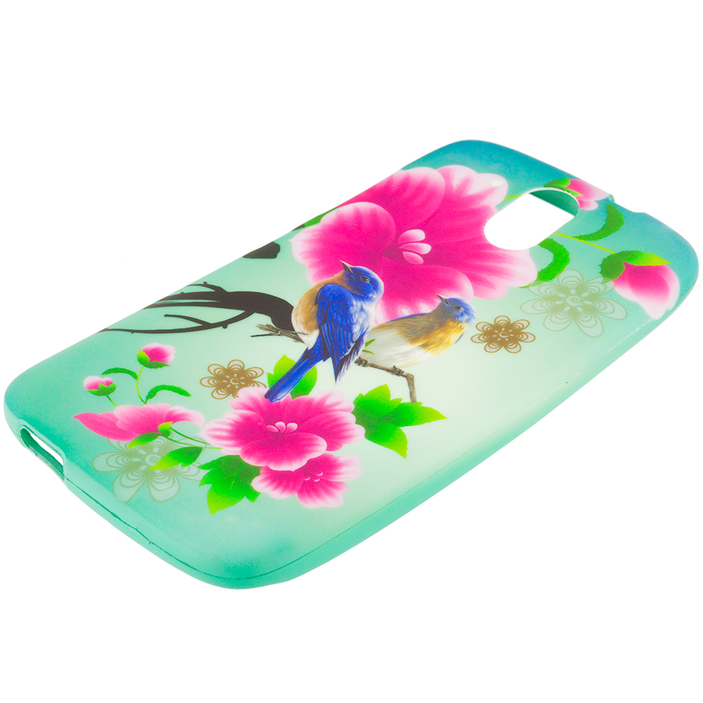 HTC Desire 526 Blue Bird Pink Flower TPU Design Soft Rubber Case Cover