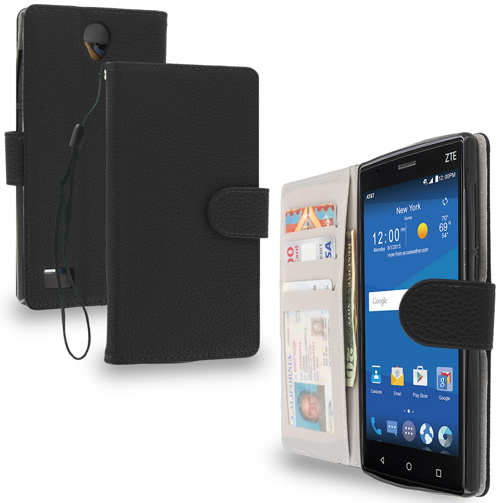 ZTE Zmax 2 Black Leather Wallet Pouch Case Cover with Slots