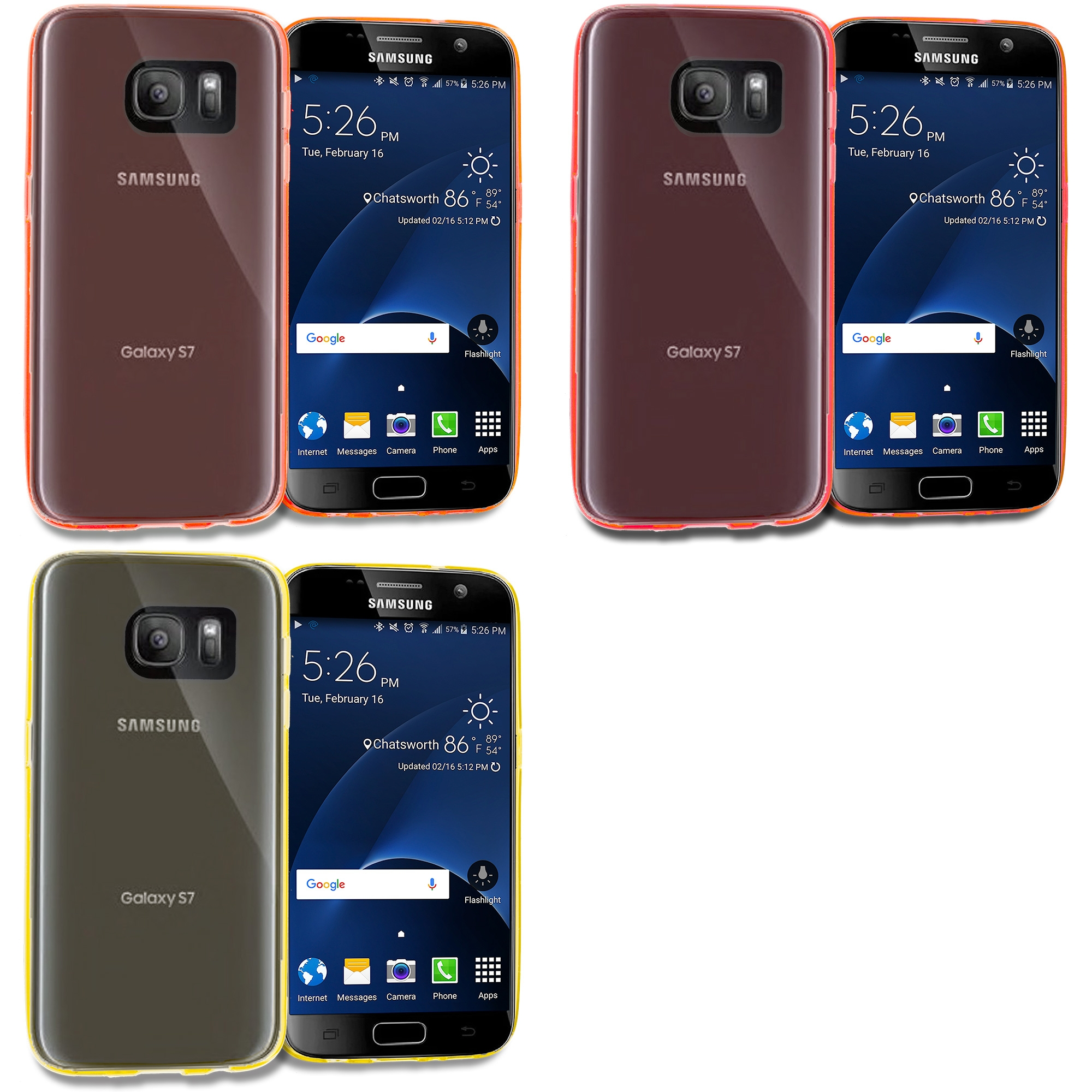 Samsung Galaxy S7 Combo Pack : Red TPU Rubber Skin Case Cover