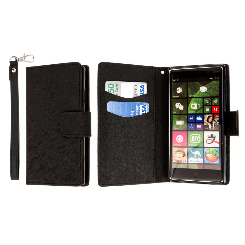 Nokia Lumia 830 - Black MPERO FLEX FLIP Wallet Case Cover