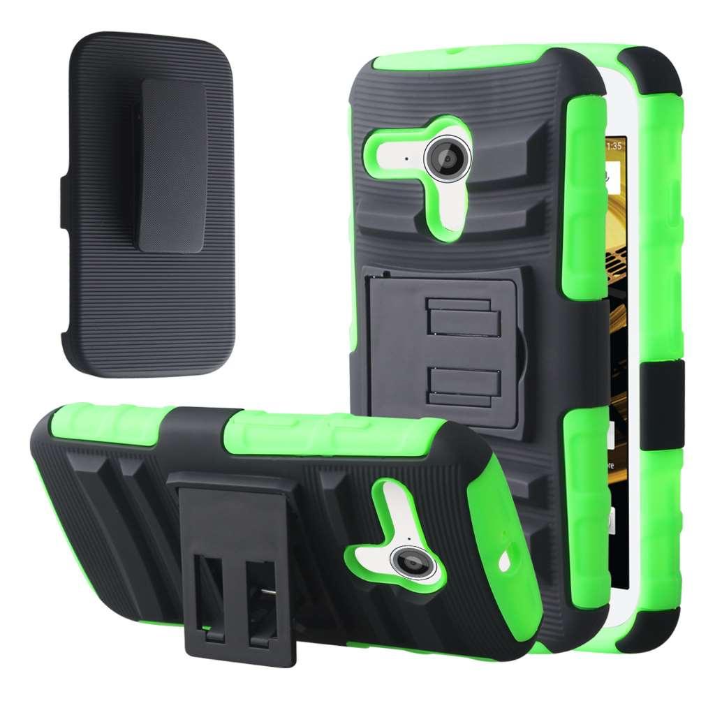 Motorola Moto E 2nd Generation - Neon Green MPERO IMPACT XT - Kickstand Case